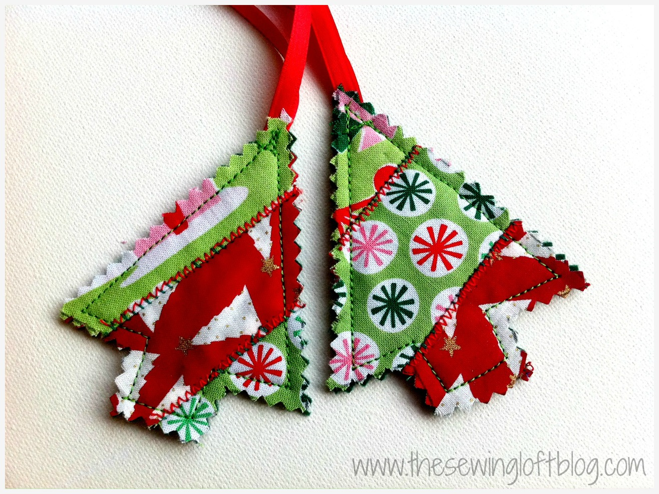 Easy tree ornaments made from scrap fabrics. By The Sewing Loft