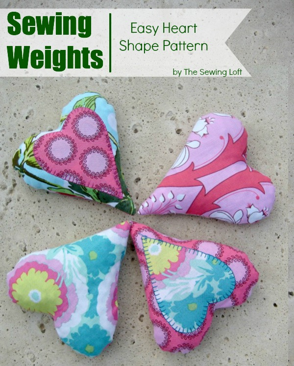 Heart shape sewing weights. Includes free pattern. The Sewing Loft