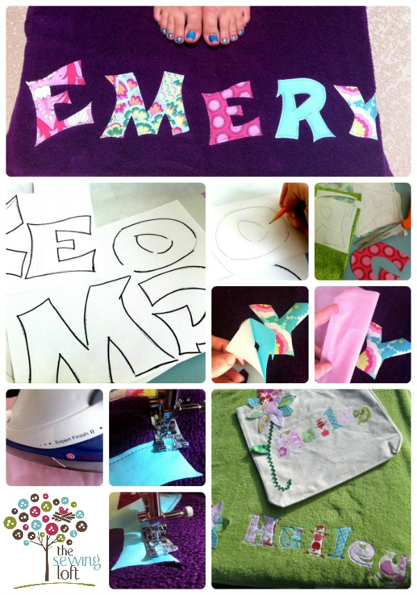 Create a personalized beach towel in 3 easy steps.  The Sewing Loft