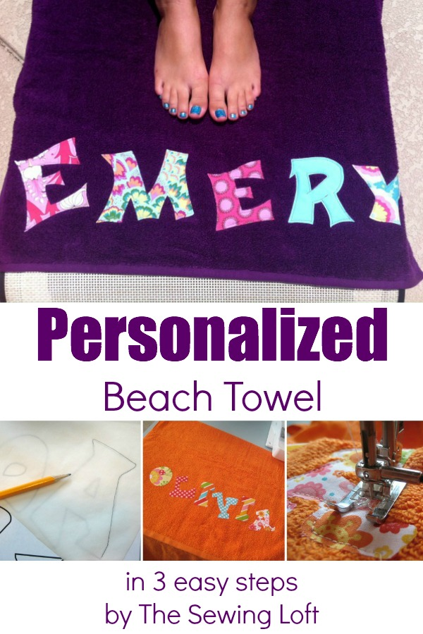 Personalize a beach towel in 3 easy steps.  The Sewing Loft