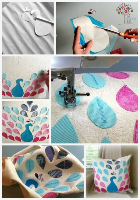 easy pillow designs. peacock pillow how to -thesewingloft easy designs