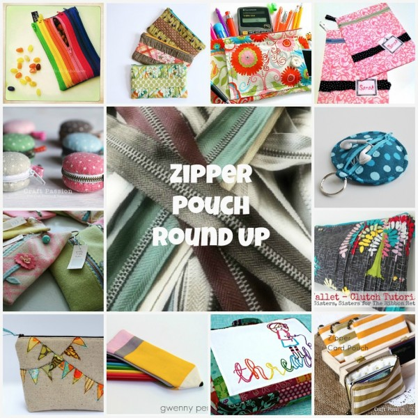 zipper pouch tutorial round up via thesewingloft.com #diy #zipper #bag