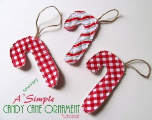 sewVery Simple Candy Cane Ornaments