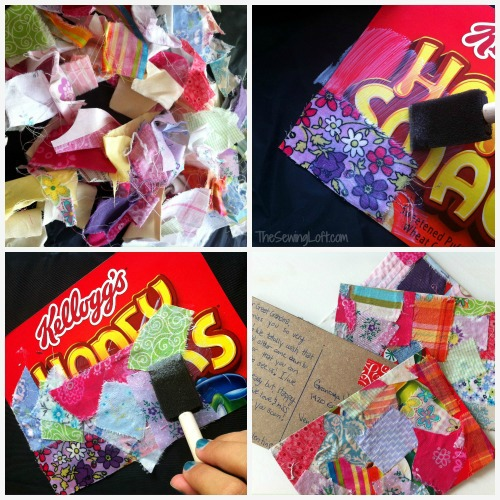 turn scrap fabric into postcards on The Sewing Loft