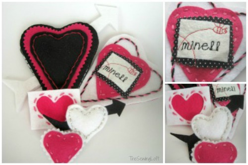 Valentine Heart Pins via TheSewingLoft