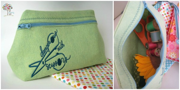 zipper bag with embroidery The Sewing Loft #diy #sewing