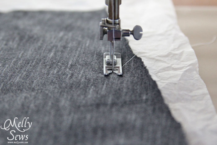 sewing with knits tissue paper trick
