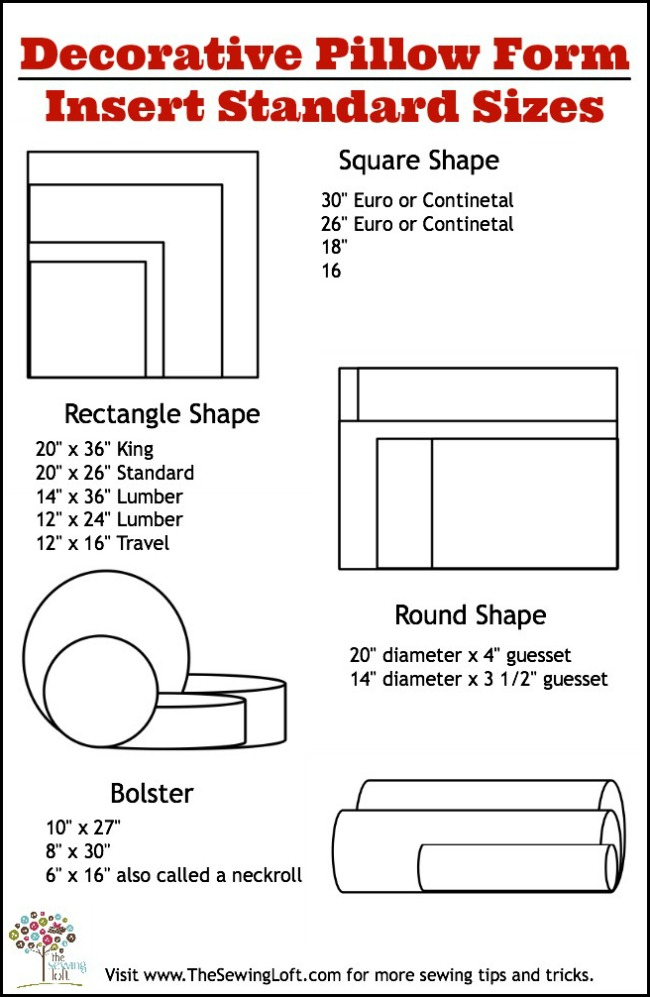 Standard Decorative Pillow Dimensions : Pillow Form Insert: Printable Size Chart - The Sewing Loft