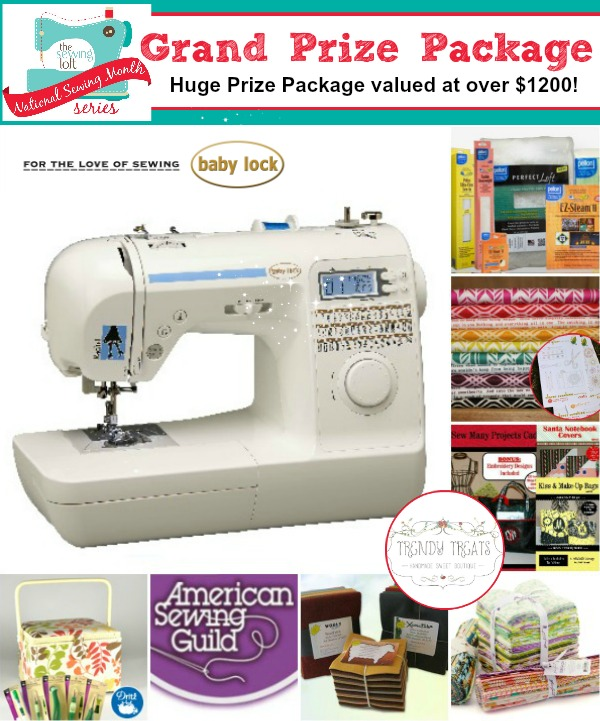 Enter to win 1 of 3 HUGE prize packages in the National Sewing Month 2013 Giveaway.  Total Value over $2200 in prizes on The Sewing Loft