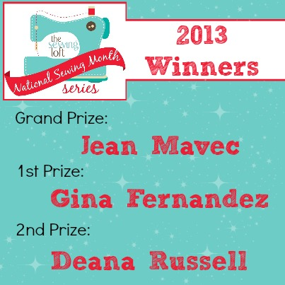 National Sewing Month 2013 Lucky Prize Package Winners on The Sewing Loft