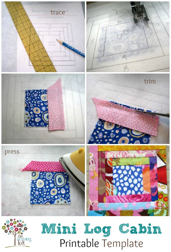 Mini Log Cabin Quilt Pattern Template by The Sewing Loft #scraps #pattern #quiltblock