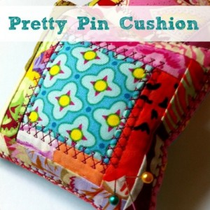 Pretty Pin Cushion Pattern. This is perfect for using up scraps. Designed by The Sewing Loft Easy to sew pattern also includes Mini Log Cabin Quilt Template. $3 #sewing #pattern #scrapfabric