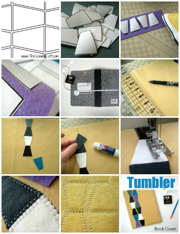 Use a tumbler template to create a simple to make book cover. Designed by The Sewing Loft  #freepattern #felt #EPP