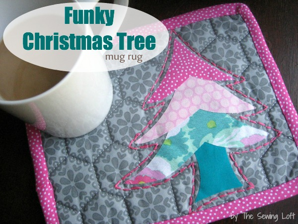 Holiday Happenings Funky Christmas Tree Mug Rug by The Sewing Loft for Babylock #freepattern #holiday #miniquilt #mugrug
