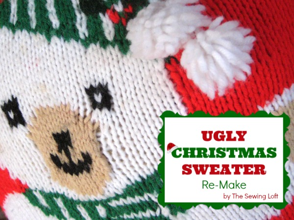 Sometimes even ugly Christmas sweaters need a makeover.  The Sewing Loft #holidaydecor #Christmas