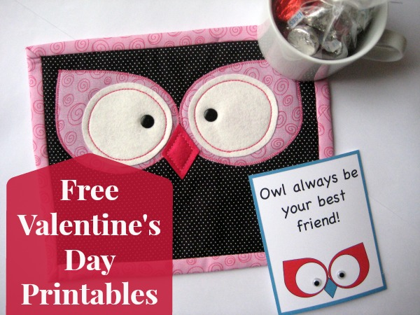 Owl Mug Rug Pattern includes Free Valentines Printables on The Sewing Loft