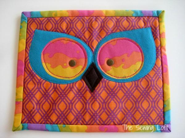 Owl Eyes Mug Rug Pattern on The Sewing Loft