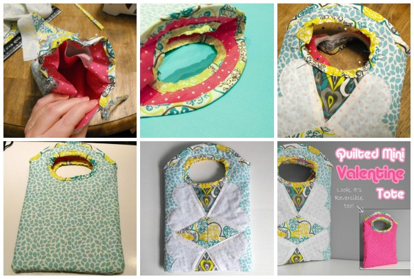 Details of the Quilted Mini Valentine Tote Bag on The Sewing Loft #freepattern #sewing #Valentine'sDay