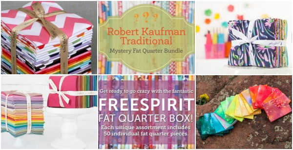 Refresh your fabric stash with new fat quarter bundles. Anything from this awesome line up can be delivered straight to your door! My personal fave is the mystery bundle box.