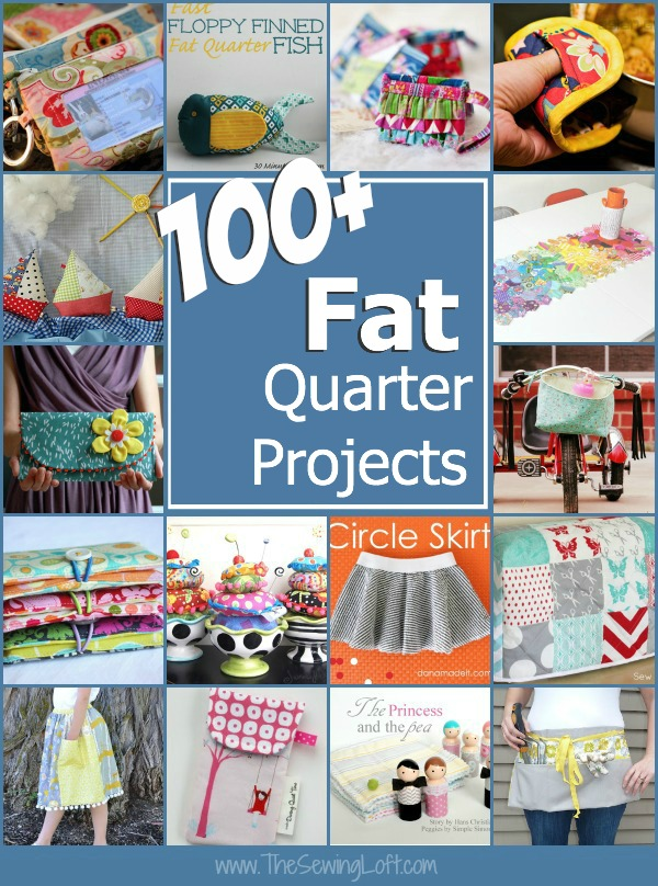 100 plus fat quarter projects. All patterns are free with step by step instructions.  The Sewing Loft #sewing #fatquarter