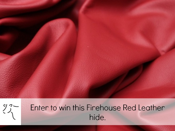 Enter to win this firehouse red leather hide on The Sewing Loft.