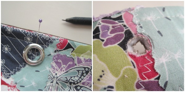 mark eyelet placement on the scrap bucket pattern.The Sewing Loft