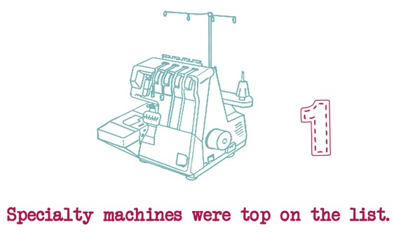 Speciality Machines were at the top of the Sewing Wish List. Learn more about the results on The Sewing Loft