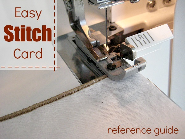 Create an easy stitch card reference book for a quick visual guide.  The Sewing Loft