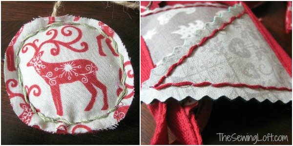 Get ready for the holidays with this easy to make ornament bunting. Tutorial by The Sewing Loft