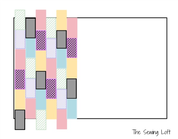 How to create the vertical row pattern for you Kitchen Mat Cover Up.. This project is perfect for  your serger and cleaning out scrap fabric. The Sewing Loft