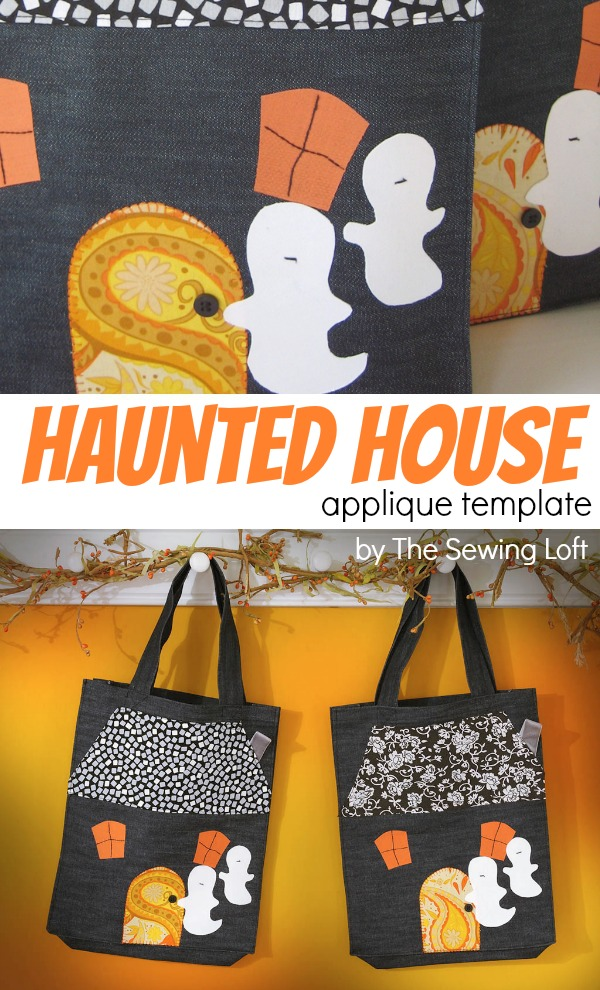 Easy to make Haunted House Applique Template by The Sewing Loft
