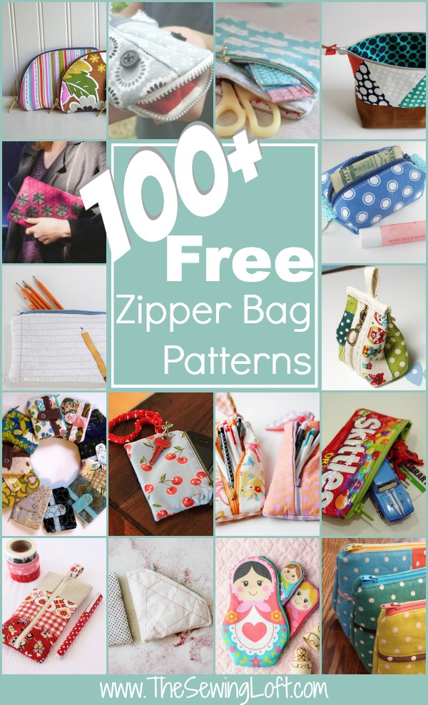 100+ Free Zipper Pouch Patterns Rounded Up in one place. The list is filled with some of the cutest zippie bags on the planet! Pick one and start stitching.