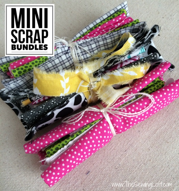 Keep your fabric stash neat and tidy with mini scrap bundles. They are the perfect gift for a stitching friend or your next swap. The Sewing Loft