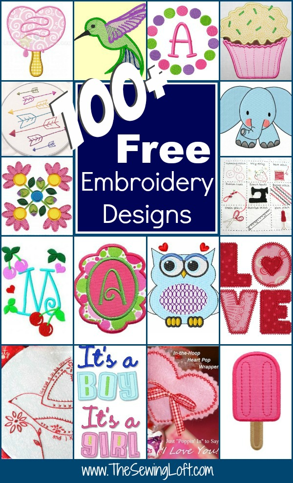 100+ Free Embroidery Designs | Round Up - The Sewing Loft