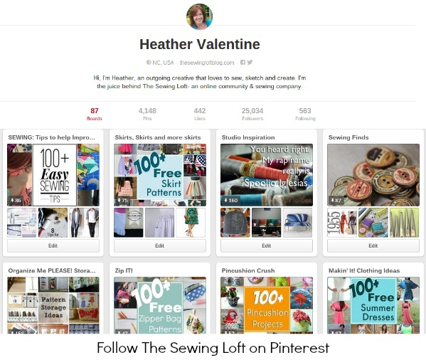 Have you noticed The Sewing Loft on Pinterest?  They are pinning some of the best projects and sewing tips found on the web today. Be sure to follow along and pin to your boards. @thesewingloft