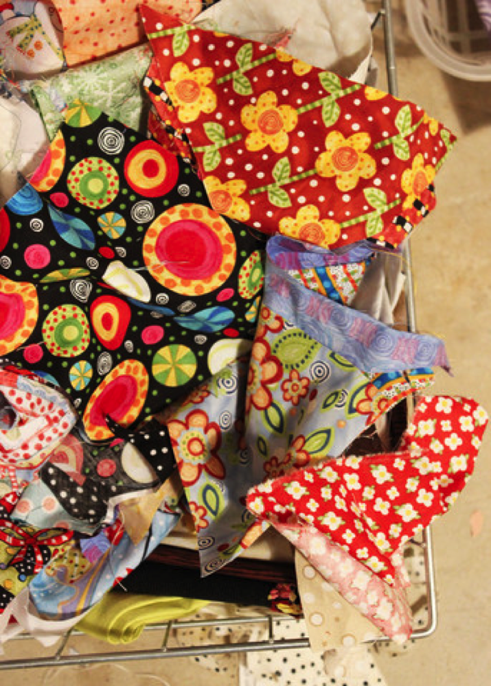 Basket of Scraps use in the scrappy trim pillow project. The Sewing Loft