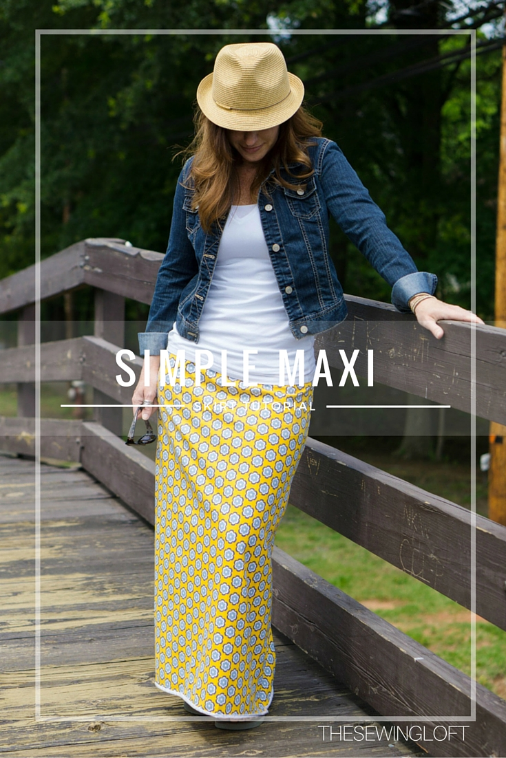 Update your closet with a simple maxi skirt pattern. This free pattern and step by step tutorial will show you how to create a personal pattern and sew it together.