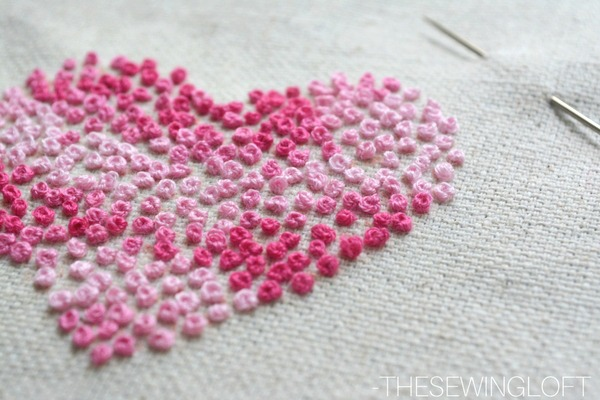 French Knot Embroidered Hearts - The Sewing Loft
