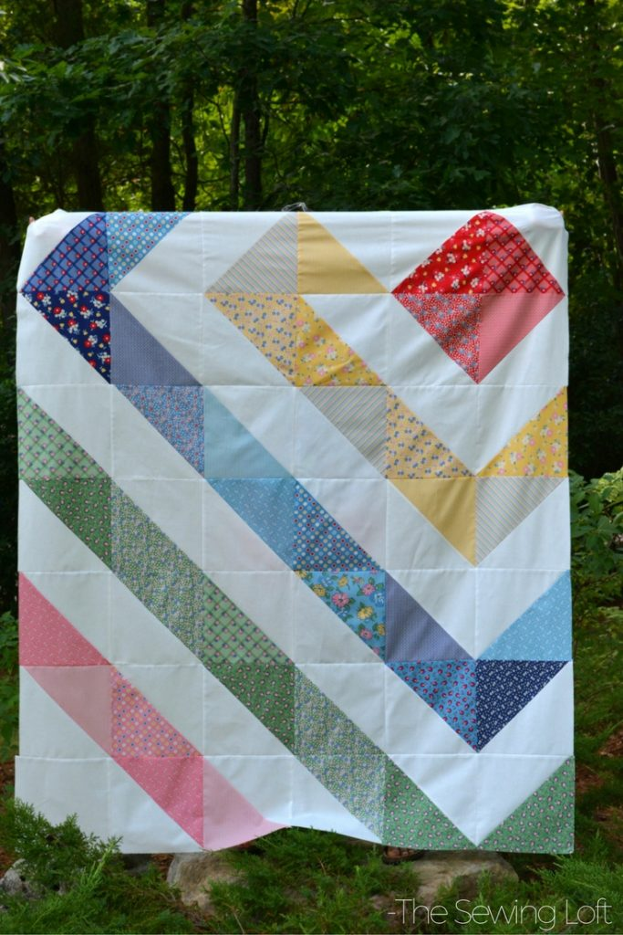 With the help of pre cut fabrics I was able to just sit at the machine and sew. This rainbow quilt top is just one of the projects I completed from my bundle.