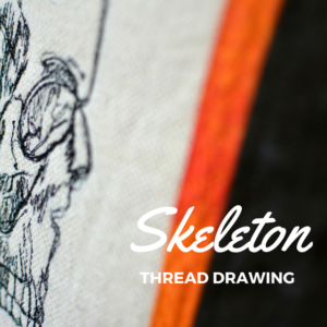 Thread Drawing Skeleton Pillow