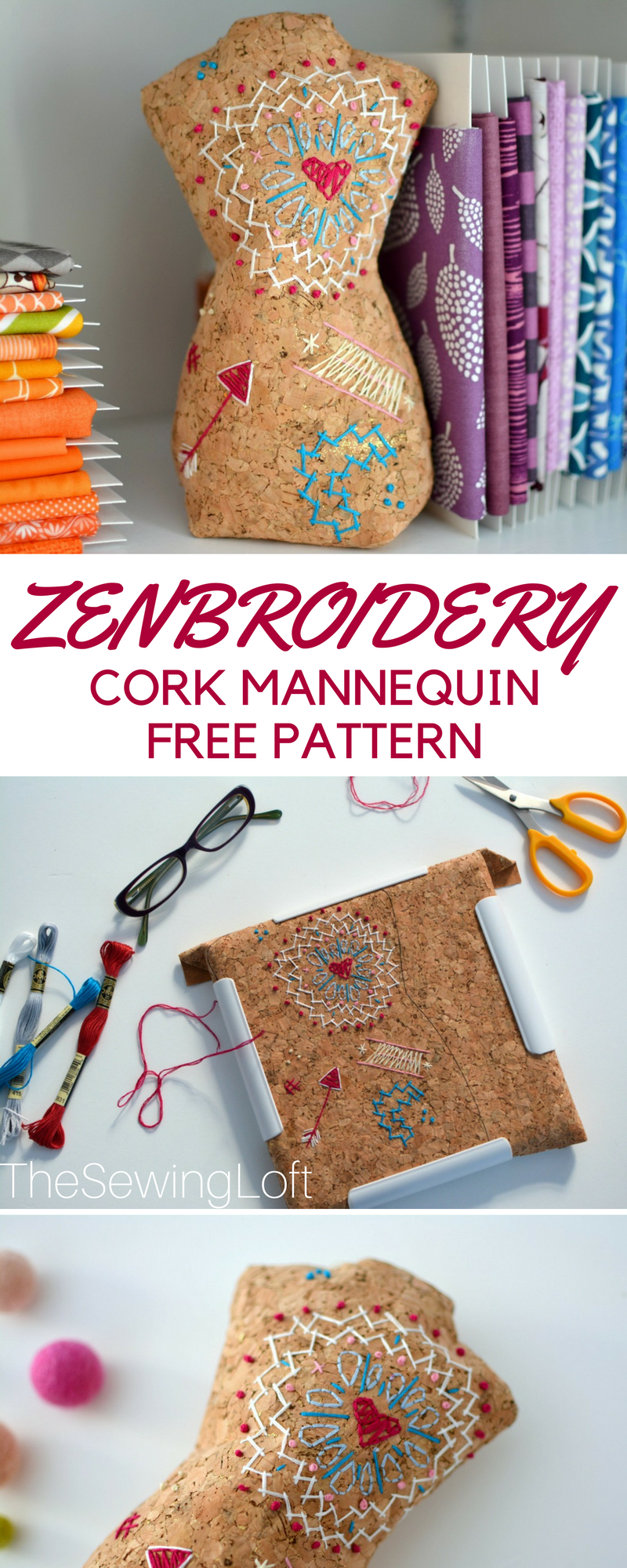 Ever think about using cork fabric to sew on? It's pretty cool especially for zenbroidery. Grab this free DIY mannequin pattern and make one today.