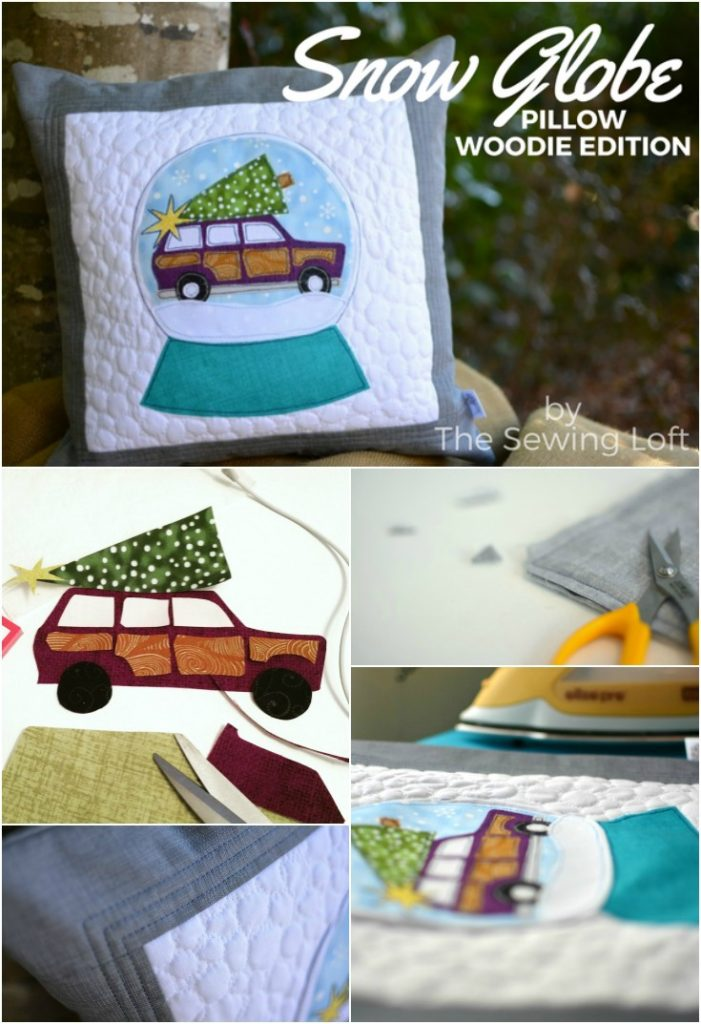 Christmas Snow Globe Woodie Applique Pillow. I love the way it looks with my holiday decorations.
