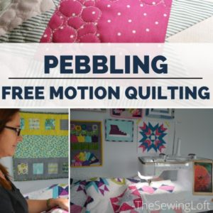 See how easy it is to sew free motion pebbles on your at home sewing machine in this video from Heather at The Sewing Loft.
