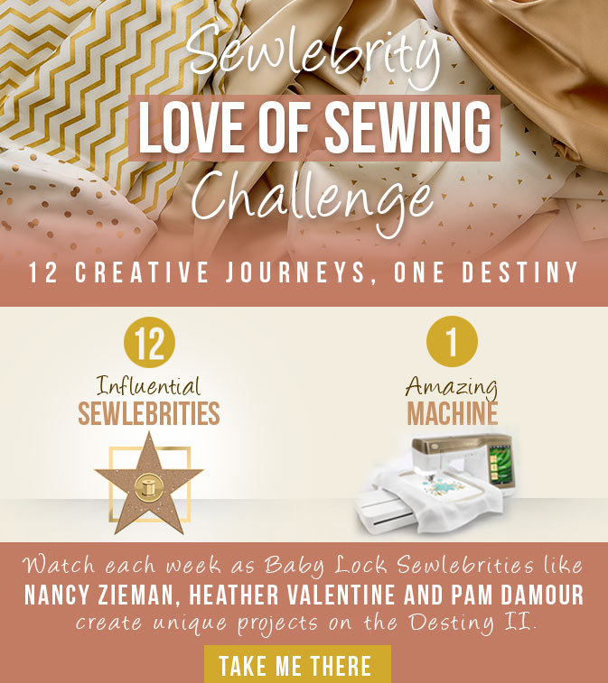 Join me and 12 designers on a great adventure during the Love of Sewing Challenge with Baby Lock. I'll be sharing great tips for machine embroidery and a free project.
