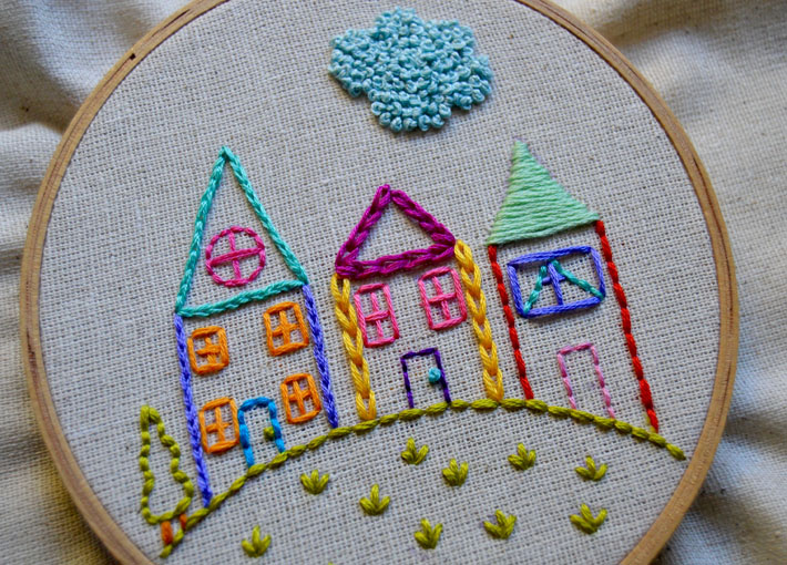 Embroidered houses pattern