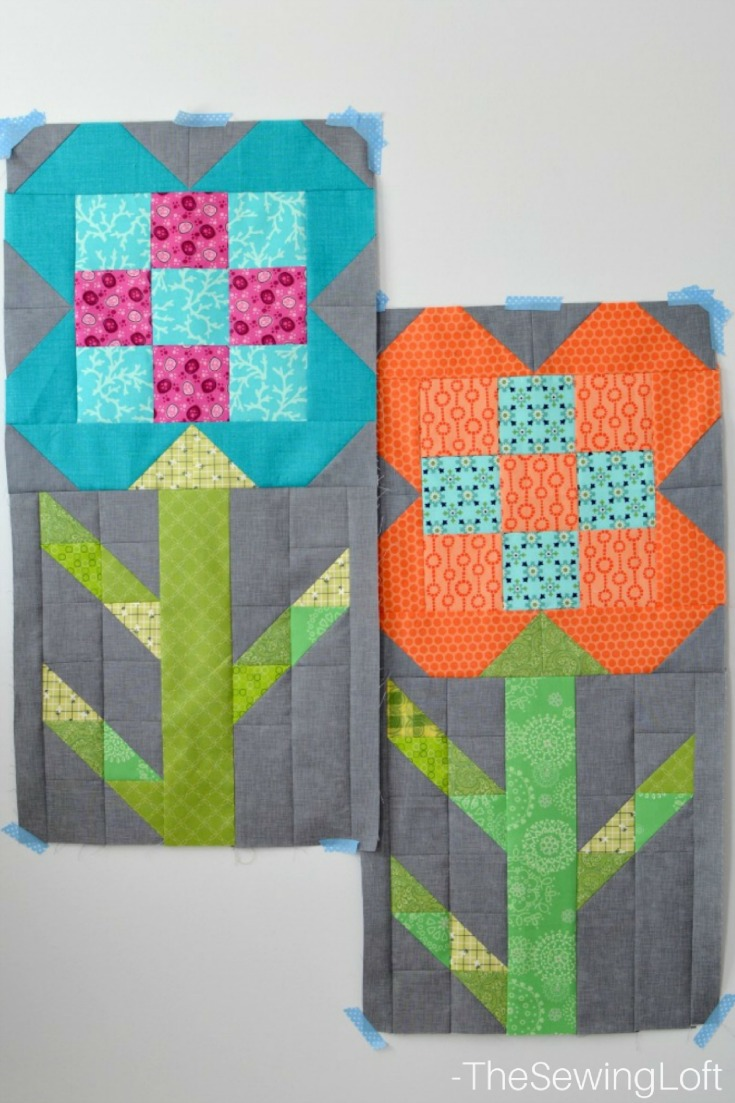 Dandy drive is moving along and my flower stem blocks are complete. I went scrappy and cleared out almost all of the green from my scrap basket.