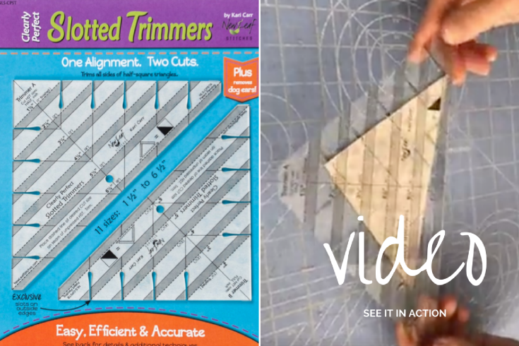 This Slotted Trimmer ruler is a serious gamer changer for half square triangles! You can trim everything- even the dog ears in a flash!! See it in action and what I made with mine.