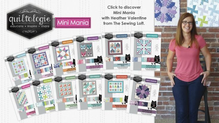 Grab the full set of Quiltologie Mini Mania quilt kits at your local Jo-Ann Fabric & Craft stores. Then be sure to watch the quick sewing videos with Heather Valentine from The Sewing Loft.