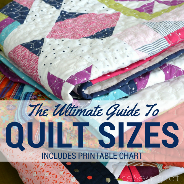Use this standard quilt size chart to design your next project. It covers all sizes from baby to California King. Size chart is easy to read and printable.