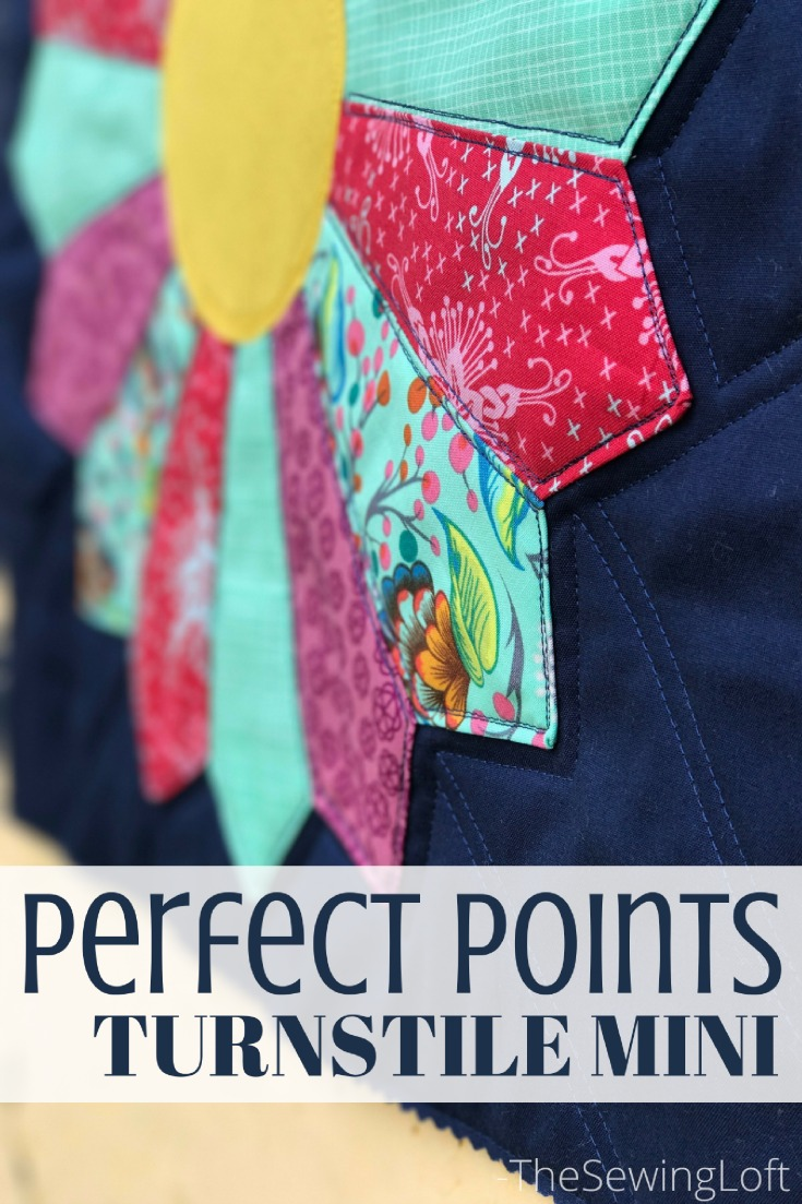 Learn how to make perfect points every time with the Turnstile mini quilt. This Quiltologie pattern includes a how to video for a dresden plate.